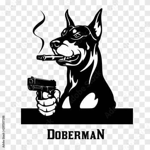 Doberman with guns - Doberman gangster. Head of angry doberman Fototapete