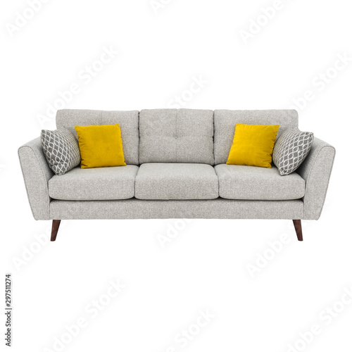 Gray Mid Back Linen Sofa Bed Isolated on White Wallpaper Mural