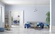 Leinwanddruck Bild - Interior design of modern scandinavian apartment, living room and dining room 3d rendering