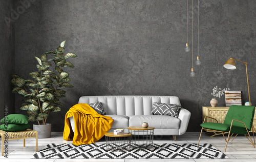 Obraz Modern interior of living room with grey sofa, coffee tables, green armchair against black concrete wall 3d rendering - fototapety do salonu
