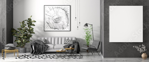 Fototapety, obrazy: Modern interior of apartment, living room with grey sofa, black armchair, coffee tables and plant, panorama 3d rendering