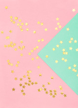 Golden Confetti Pink Turquoise Flat Lay Background