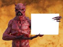 3D Rendering Of A Devil In Hel...