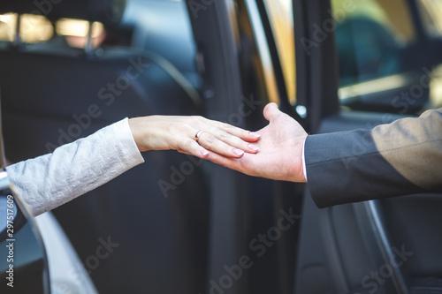 Fotografering  romantic couple holding hands