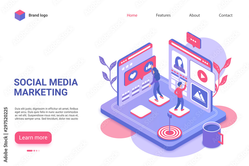 Fototapety, obrazy: Social media marketing landing page vector template. Viral internet advertising website homepage UI layout with isometric illustration. Target audience attraction campaign web banner 3D concept