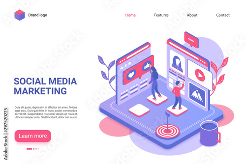 Photo  Social media marketing landing page vector template