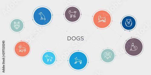 Fotografie, Tablou dogs 10 stroke points round design
