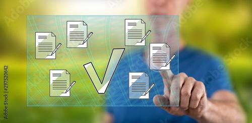 Fotografía  Man touching a document validation concept