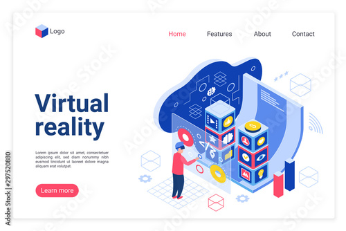 VR technology landing page vector template Canvas Print