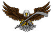 An eagle ice hockey player animal sports mascot holding a hockey stick and puck