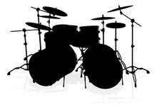 A Detailed Drum Kit Musical Instrument Silhouette