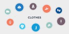 Clothes 10 Points Circle Design. Beret, Bikini, Coat, Dress Round Concept Icons..