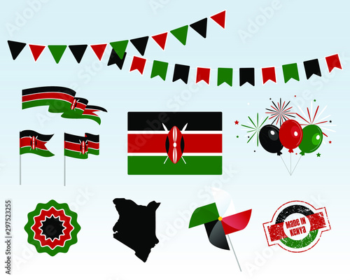 National holiday. Independence Day of Kenya, set of vector design elements. Made in Kenya. Map, flags, ribbons, turntables, sockets. Vector. 12 December. Symbolism Wall mural