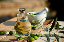 Olive Oil And Green Olive On T...