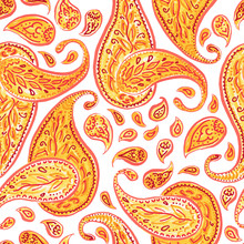 Seamless Orange Paisley Patter...