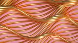 Golden wave background. 3d illustration, 3d rendering.