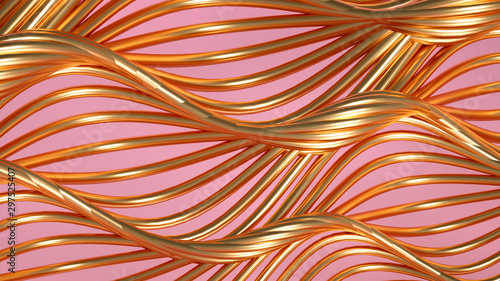 Papiers peints Abstract wave Golden wave background. 3d illustration, 3d rendering.
