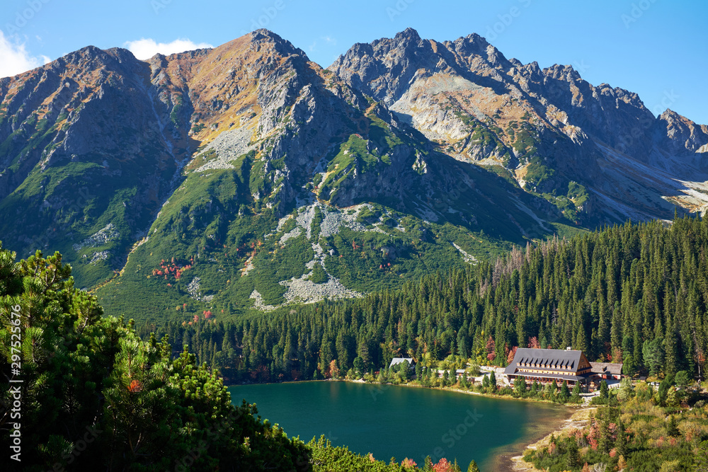 Fototapety, obrazy: Poprad Lake with autumn forests  from the hiking trail of the Ostrva mountain in High Tatras National Park, Slovakia