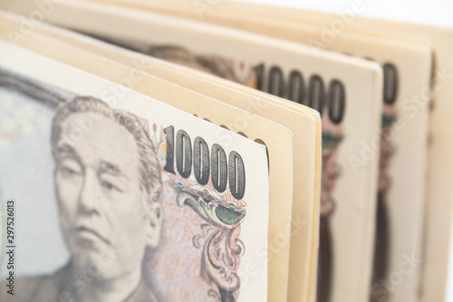Foto  Close up japanese currency yen money banknote