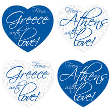 A Set Of Hearts For Souvenirs On The Theme Greece, Athens In The Colors Of The National Flag. Vector Illustration