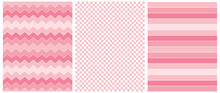 3 Abstract Vector Seamless Prints. Blush Pink Stripes, Chevron And Grid Isolated On A White Background. Pastel Pink Zigzags On A White. Lovely  Stripped Repeatable Vector Design.Cute Checkered Layout.