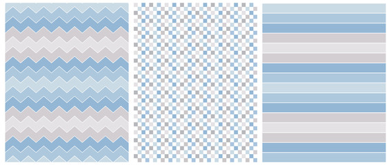Abstract Geometric Vector Prints.Pastel Blue and Gray Stripes, Chevron and Grid Isolated on a White Background. Blue Zigzags on a White. Lovely Stripped Repeatable Vector Design.Cute Checkered Layout.
