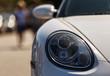 Beautiful oval headlights of the modern car.