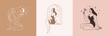 Beautiful Female Figure. Vector Logo Design Template And Illustration In Simple Minimal Linear Style - Body Positive Emblem, Abstract Badge For Lingerie Designer