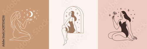 Obraz Beautiful female figure. Vector logo design template and illustration in simple minimal linear style - body positive emblem, abstract badge for lingerie designer - fototapety do salonu