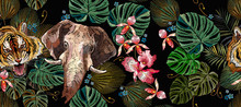 Embroidery Tiger, Elephants, Palm Leaves And Orchid Flowers Horizontal Seamless Pattern. Tropical Art. Jungle Summer Concept. Fashionable Template For Clothes, T-shirt Design