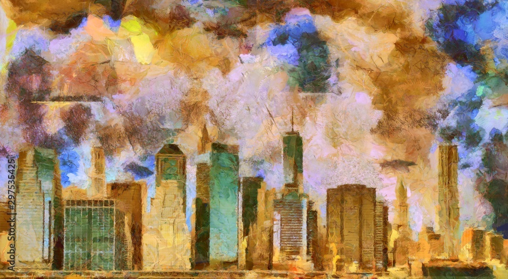 Manhattan. Digital abstract painting. Oil on canvas