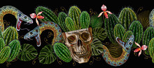 Mexican Art. Skull, Cactus And Snake Horizontal Seamless Pattern. Embroidery Ethnic Style. Template For Clothes, Textiles, T-shirt Design
