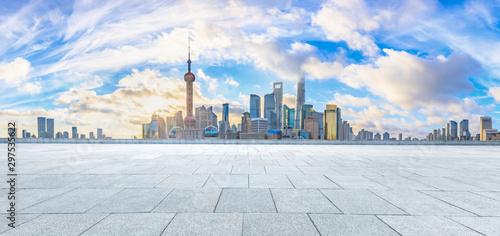 Montage in der Fensternische Shanghai Urban architectural landscape and floor plaza in Shanghai