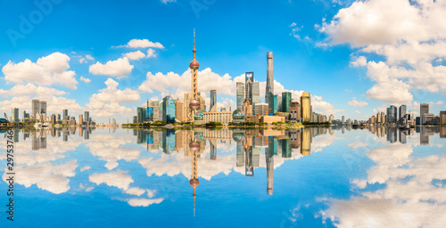 Architectural landscape and city skyline in Shanghai Canvas Print