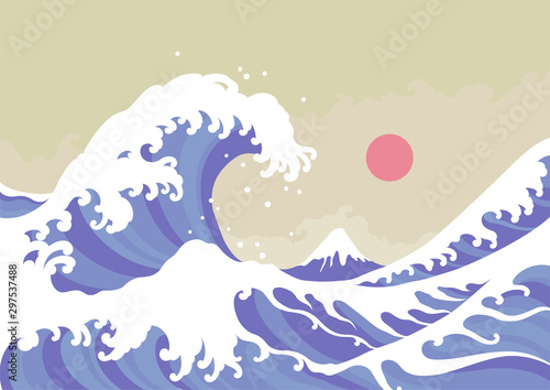 Big wave vector illustration Canvas Print