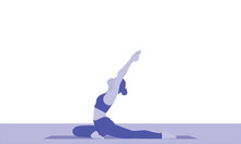 A Young Woman Stretches The Entire Front Of The Torso, The Ankles,  Back Muscles, Chest, And Throat In Yoga  Pigeon Pose Asana Pada Radha Kapotasana