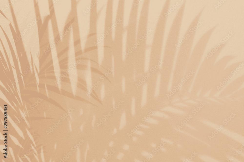 Światło i cień zieleni liście, palmowy liść na piaska koloru grunge ściany betonują tło Sylwetki mieszkania nieatutowego abstrakcjonistycznego tropikalnego liścia lata naturalna deseniowa tekstura z kopii przestrzenią Miękki wizerunku tło.