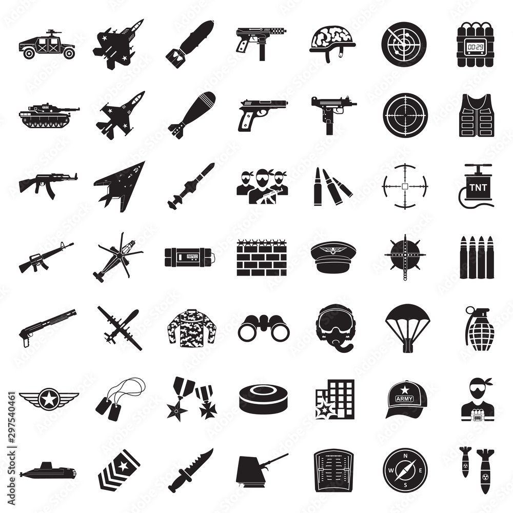 Fototapeta War Icons. Black Flat Design. Vector Illustration.