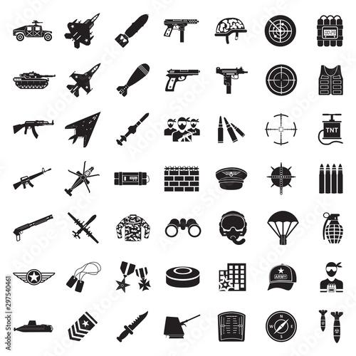 Fotomural  War Icons. Black Flat Design. Vector Illustration.
