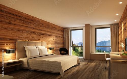Fototapeta Hotelzimmer mit Holzwand obraz