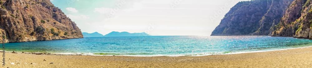 Fototapety, obrazy: Panorama Mountain Oludeniz lagoon in sea Turkey mountain beach view.