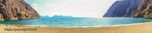 Panorama Mountain Oludeniz lagoon in sea Turkey mountain beach view.