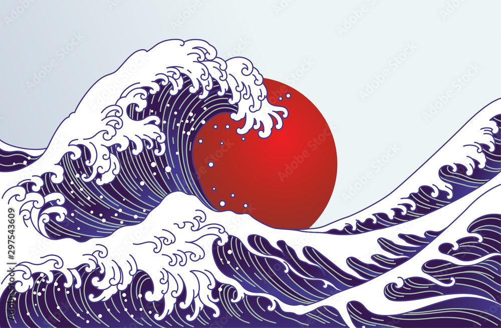 Traditional Japan wave, big red sun illustration. Japan flag design.- Vector <span>plik: #297543609   autor: dhtgip</span>