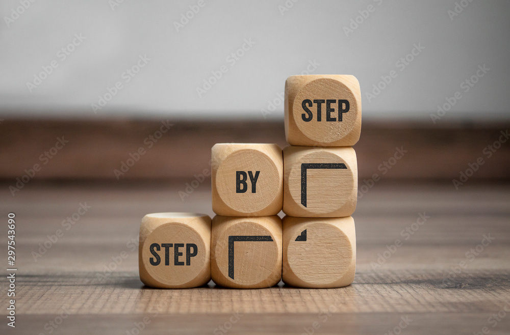 Fototapety, obrazy: Cubes and dice with step by step on wooden background