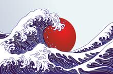 Traditional Japan Wave, Big Red Sun Illustration. Japan Flag Design.- Vector