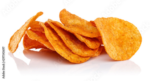 Fotografía Round corn chips isolated on white background