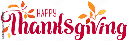 Foto  Happy Thanksgiving ornate text for greeting card