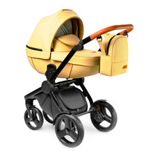 Yellow Stroller Isolated On White Background. Infant Carriage Seat. Baby Travel System With Showerproof Hood. Side View Of Beige Pram With Carry Cot. Pushchair With Canopy