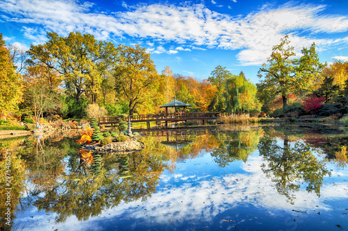 WROCLAW, POLAND - OCTOBER 18, 2019: Japanese Garden is situated in the vicinity of the historical Pergola and Centennial Hall in Wroclaw, Poland Canvas Print