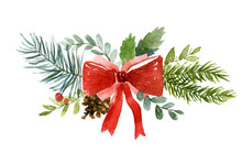 Watercolor Illustration Of Christmas Wreath. Hand-drawn Illustration Of The White Background